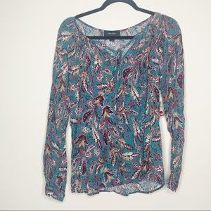 Karen Kane NWT Long Sleeve Feather Floral Blouse S